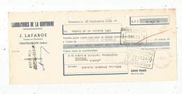 Lettre De Change, Laboratoires De La QUINTONINE , Lafarge ,Chateauroux , Indre ,enregistrement ,1951,  Frais Fr 1.55 E - Bills Of Exchange