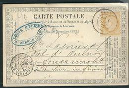 FRANCE 1873 N° 59   S/CP Obl.C à D Vernon - 1871-1875 Ceres