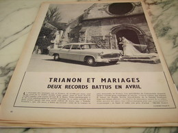 ANCIENNE PUBLICITE VOITURE  TRIANON ET MARIAGE 1955 - Voitures