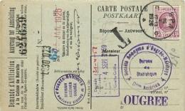 Belgique. TP 195 Perfin OM (Ougrée Marihaye)  CP  Spa > Ougrée  T. 16/1/26 2è Jour Du Tarif, Mais Taxe Non Perçue - 1922-1927 Houyoux