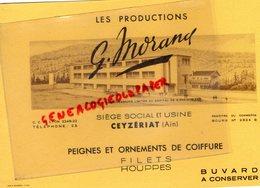 01- CEYZERIAT- BUVARD G. MORAND PEIGNES COIFFURE - COIFFEUR- CHEVEUX- HOUPPES- IMPRIMERIE RAMBOZ A LYON - Perfume & Beauty