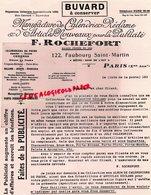 75- PARIS- PAPETERIE RARE BUVARD F. ROCHEFORT -122 FAUBOURG SAINT MARTIN-MANUFACTURE CALENDRIERS PUBLICITE - Stationeries (flat Articles)