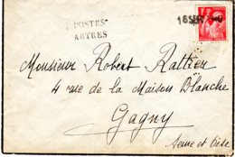 Cachet De Remplacement De ARTRES (Nord) Et Date Au Tampon 16 SEPT 40 - Marcophilie (Lettres)