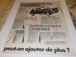 ANCIENNE PUBLICITE LA PLUS BRILLANTE VOITURE  SIMCA 1100  1968 - Voitures