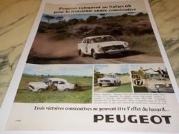 ANCIENNE  PUBLICITE PEUGEOT VAIQUEUR AU SAFARI 1968 - Voitures