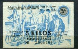 11080 FRANCE   Billet De 5Kg D'Acier Ordinaire Valable Jusqu'au 30 Juin 1947   TB - Actions & Titres