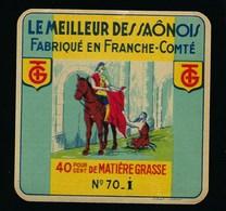 """Ancienne étiquette Fromage Camembert Le Meilleur De Saônois """"GT""""  40%mg Haute Saône 70 I """"cheval Soldat Mendian' - Formaggio"""