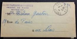 Cachet FFI Région De Paris Officier De Zone Les Lilas Novembre 1944 Pli Aller-retour Recensement Activités Clandestines - Guerre De 1939-45