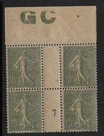 Semeuse - N° 130j En Bloc De 4 ** Millésime 7 - Papier GC - Cote 120 € - 1903-60 Sower - Ligned