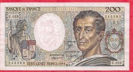 """200 Francs """"Montesquieu"""" --1984 ----F/TTB+---Série  U.023 - 1962-1997 ''Francs''"""