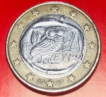 GRECIA - 2007 - Moneta - Civetta - Euro - 1.00 - Grèce