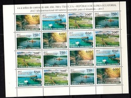 EQUATORIAL GUINEA, 2017, MNH,SUSTAINABLE TOURISM, MOUNTAINS, BICYCLES, BOATS, CANOES, UNCUT SHEETLET OF 4 SETS - Other