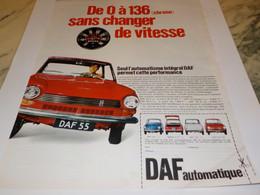 ANCIENNE PUBLICITE VOITURE DAF AUTOMATIQUE 1968 - Voitures