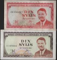 B 46 - GUINEE Lot De 2 Billets  De 10 Sylis état Neuf - Guinée