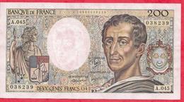 """200 Francs """"Montesquieu"""" --1987 ----VF/SUP---Série  A.045 - 1962-1997 ''Francs''"""