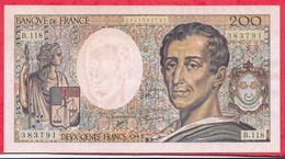 """200 Francs """"Montesquieu"""" --1992 ---AU/SPL----Série  A.045--AUCUN TROU D EPINGLE -TRES BEAU BILLET - 1962-1997 ''Francs''"""