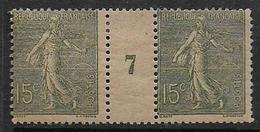 Semeuse - N° 130c  Paire * Millésime 7 - Papier GC  - Cote 25 € - 1903-60 Sower - Ligned