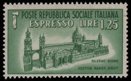 Italia: R.S.I. - Espresso Duomo Di Palermo Lire 1,25 Verde - 1944 - 4. 1944-45 Repubblica Sociale
