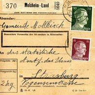Bulletin D'expédition Des Colis Postaux D'Alsace-Lorraine De Molsheim-Land Avec Cachet De Poste Automobile Rurale - Alsace-Lorraine