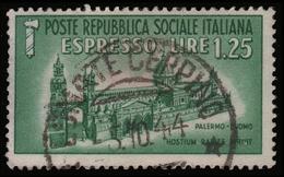 Italia: R.S.I. - Espresso Duomo Di Palermo Lire 1,25 Verde (usato: Lonate Ceppino 5-10-44) - 1944 - 4. 1944-45 Repubblica Sociale
