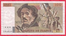 """100 Francs """"Delacroix"""" 1978 ------F/TTB---Série H.5 - 1962-1997 ''Francs''"""
