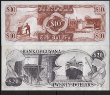 B 47 - GUYANA Lot De 2 Billets  De 10 Et 20 Dollars état Neuf - Guyana