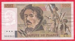"""100 Francs """"Delacroix"""" 1984------VF/SUP---Série X.75 - 1962-1997 ''Francs''"""