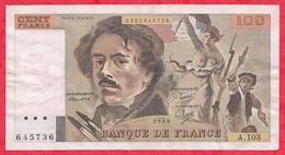 "100 Francs ""Delacroix"" 1986------F/TTB+---Série A.103 - 1962-1997 ''Francs''"