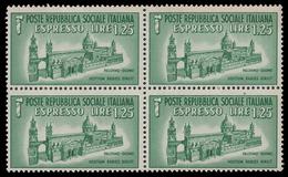 Italia: R.S.I. - Espresso Duomo Di Palermo Lire 1,25 Verde (Quartina) - 1944 - 4. 1944-45 Repubblica Sociale