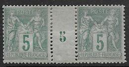 Sage - N° 75  Paire  Millésime 5 *   - Cote 150 € - 1876-1898 Sage (Type II)