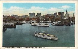 CPA DE BALTIMORE - MARYLAND  (ETATS-UNIS)  VIEW OF HARBOR, SHOWING EXCURSION BOATS - Baltimore