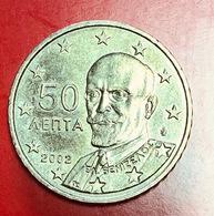 GRECIA - 2002 - Moneta - Ritratto Di Eleftherios Venizelos (1864-1936) - Euro - 0.50 - Grecia