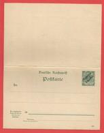 Carte Postale Entiers Postaux  Reichspost 5 Pfenning Surchargé Marocco 5 Centimos Carte Double - Bureau: Maroc