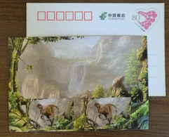 Gigantoraptor Erliansis Dinosaur,waterfall,China 2017 Zigong Dinosaur Post Office Advertising Pre-stamped Card - Preistorici
