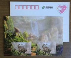 Huayangosaurus Dinosaur,waterfall,China 2017 Zigong Dinosaur Post Office Advertising Pre-stamped Card - Preistorici