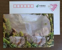 Sinosauropteryx Dinosaur,waterfall,China 2017 Zigong Dinosaur Post Office Advertising Pre-stamped Card - Preistorici