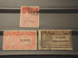TRAVANCORE - 1944 PITTORICA 3 VALORI  TIMBRATI/USED - Travancore