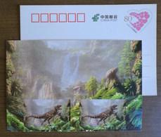 Yangchuanosaurus Dinosaur,waterfall,China 2017 Zigong Dinosaur Post Office Advertising Pre-stamped Card - Preistorici