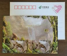 Tsintaosaurus Spinorhinus Dinosaur,waterfall,China 2017 Zigong Dinosaur Post Office Advertising Pre-stamped Card - Preistorici