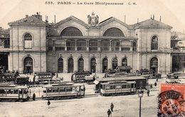 10062. CPA 75 PARIS. LA GARE MONTPARNASSE. TRES ANIMEE TRAMWAYS VOITURES A CHEVAUX 1910 - Métro Parisien, Gares