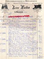 86- BONNES - RARE FACTURE LEON HAHN -MECANICIEN CHAUDRONNIER CHAUDRONNERIE MECANIQUE-CHAUDIERE  VAPEUR-PILTER SAVING - Petits Métiers