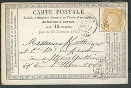 FRANCE 1875 N° 59 (def.)  S/CP Obl.GC 2068 Lodéve - 1871-1875 Cérès