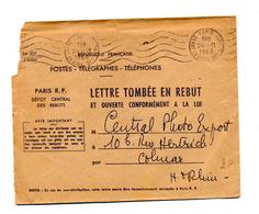 Lettre Tombee En Rebut Flamme Muette Paris Depot Rebut - Postmark Collection (Covers)