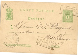 LUXEMBOURG ENTIER POSTAL OBLITERE AMBULANT UFLINGEN LUXEMBOURG - 1859-1880 Wapenschild