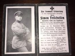 Sterbebild Wk1 Ww1 Bidprentje Avis Décès Deathcard RIR15 12. November 1918 LANDSHUT Aus Egglkofen - 1914-18