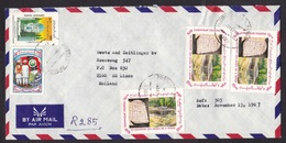 Afghanistan: Airmail Cover To Netherlands, 1987, 5 Stamps, Monument, Tourism, Flag, Rare Real Use! (right Stamp Damaged) - Afghanistan