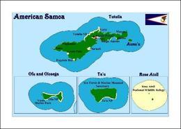 American Samoa Map New Postcard Amerikanisch-Samoa Landkarte AK - Samoa Américaine