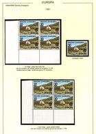 ANDORRA ANDORRE !! Europa 1981 Etude 30Pta Bloc De 4 Variété Point 1er Tirage + Bloc De 4 Du 2è Tirage + 1 Timbre Flou - Andorre Espagnol