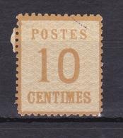 FRANCE ALSACE LORRAINE GUERRE DE 1870 -71 TYPOGRAPHIE 10 CENTIMES BISTRE BRUN N° 5 * COTE 40 Euros - Alsace-Lorraine