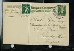 CP - Michel / P 45. II  (dent à Gauche)  Obl. Lausanne- Gare  13/07 1916 Pour London (GB) - Entiers Postaux